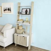 SoBuy FRG110 WN, Ladder Shelf Wall Shelf Bookcase Storage Display Shelving Unit with 3 Shelves and Cabinet