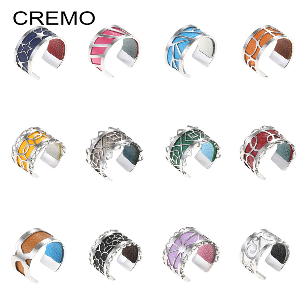 Cremo Simple Ring Stainless Steel Ring Bijoux Adjustable Ring Bague Femme Argent Reversible Interchangeable Leather Rings DIY