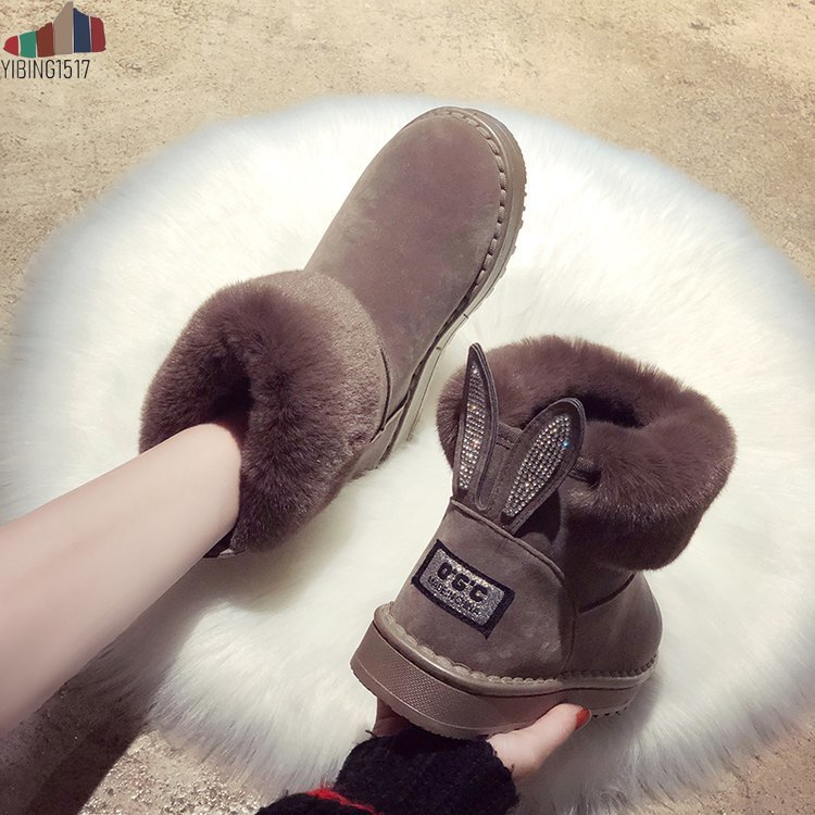 Women Boots Genuine Leather Real Fox Fur Brand Winter Shoes Warm Black Round Toe Casual Plus Size Female Snow Boots 20