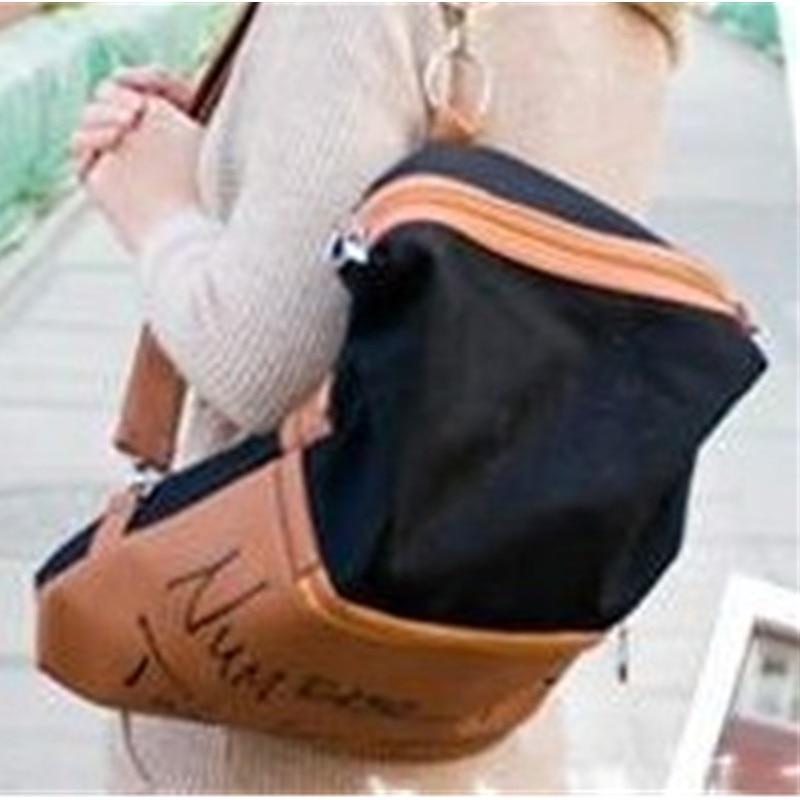 ФОТО Retro High Quality Canvas PU Spliced Letters Pattern Backpacks Schoolbag Casual Travel Bag Crossbody Messenger
