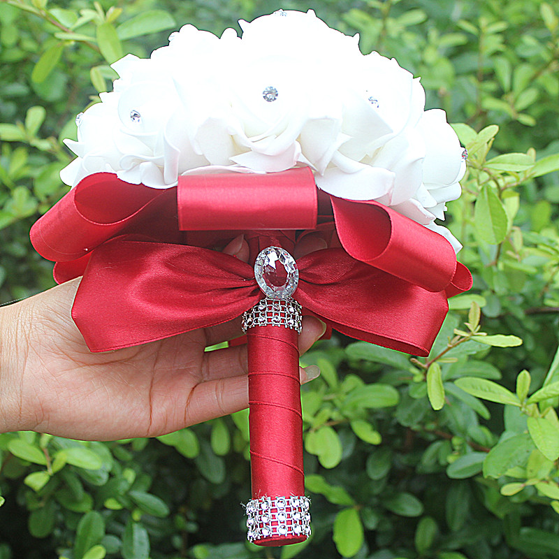 IN STOCK Cheapest PE Rose Bridesmaid Wedding Foam flowers Rose Bridal bouquet Ribbon Fake Wedding bouquet de noiva 14 Color 3