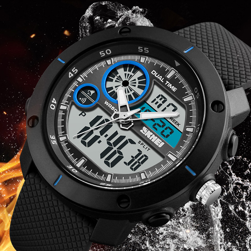 2018 SKMEI Men's Fashion Sport Watches Men Quartz Analog Date Clock Man Military Waterproof Digital Watch Relogio Masculino