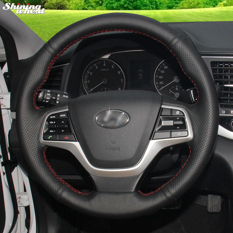 Shining wheat Hand-stitched Black Leather Car Steering Wheel Cover for Hyundai Elantra 4 2016 2017 senior luxury hand knitted bv style car steering wheel cover for mini cooper
