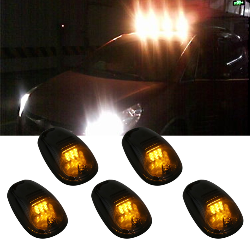 5Pcs Smoked Cover Amber LED car Cab Roof light Top Marker Running Light For Truck SUV 4×4 Pickup lamp Kit van Clearance cavanan