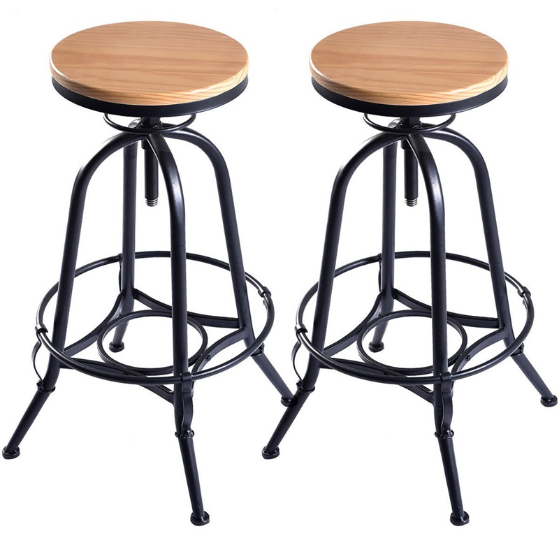 Set Of 2 Height Adjustable Vintage Bar Stools Industrial Swivel Wooden High Chairs With A Footrest Party Chairs HW53864