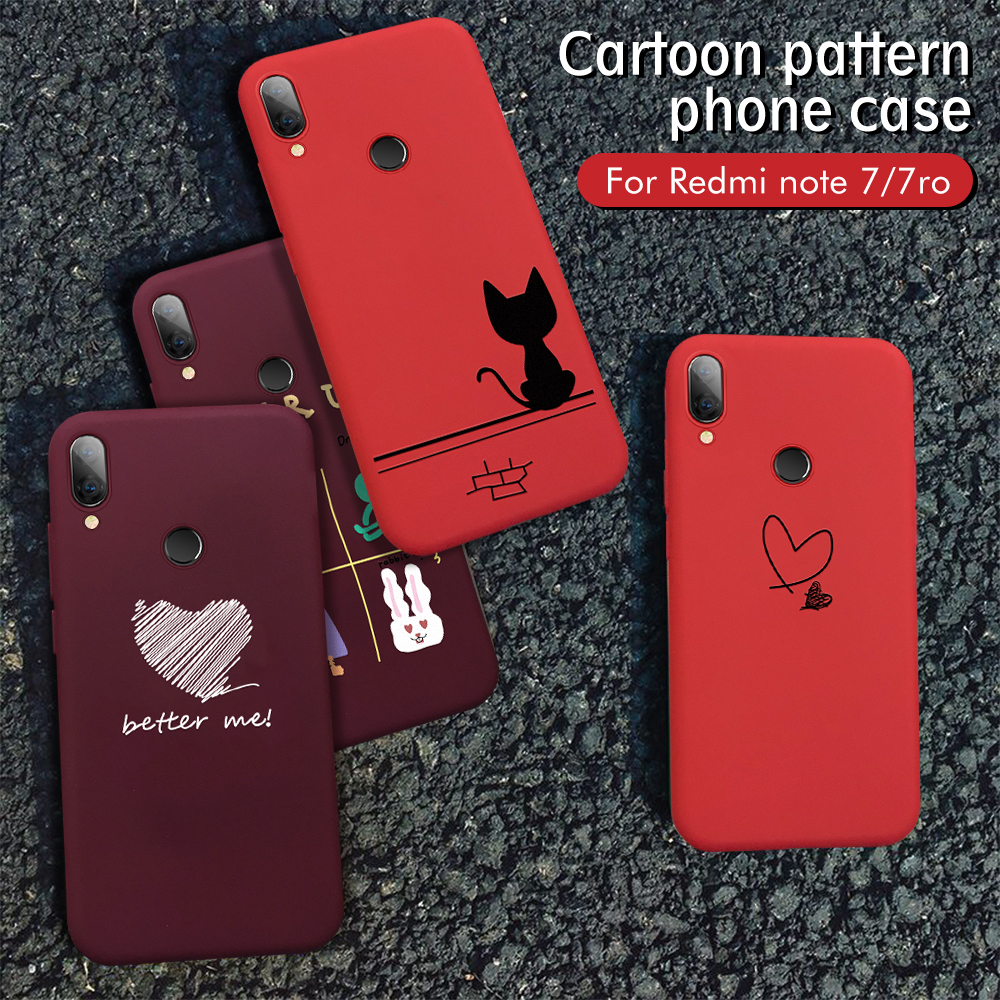 Red Cartoon Case For Xiaomi Redmi 6A 6 Pro 7 7A K20 Note 7 6 5 Pro Mi A2 Lite Patterned Phone Cases Cute Animal Love Heart Cover