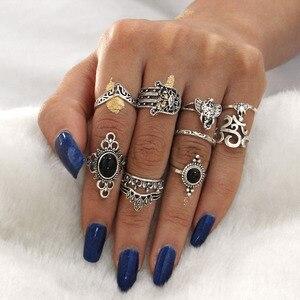 10 Pcs/set Bohemian Vintage Tibetan Silver Flower Hand Geometric Crystal Ring Set Women Charm Joint Ring Party Wedding Jewelry