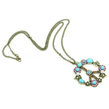 New Retro Vintage Bronze Peace Sign Flower Leaf Pendant Long Sweater Chain Necklace(China)