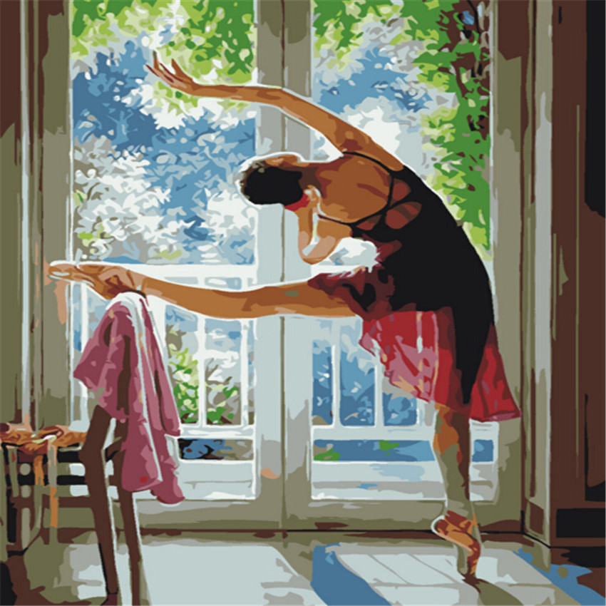 Ballet Girl Oil Painting By Numbers DIY Abstract Digital Balcony Picture Coloring By Numbers On Canvas Unique Gift Home Decor in Painting Calligraphy from Home Garden