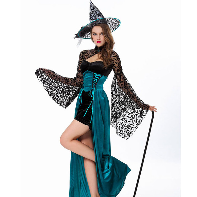 Adult Women Witch Halloween Costume Wicca Point Hat Masquerade Party