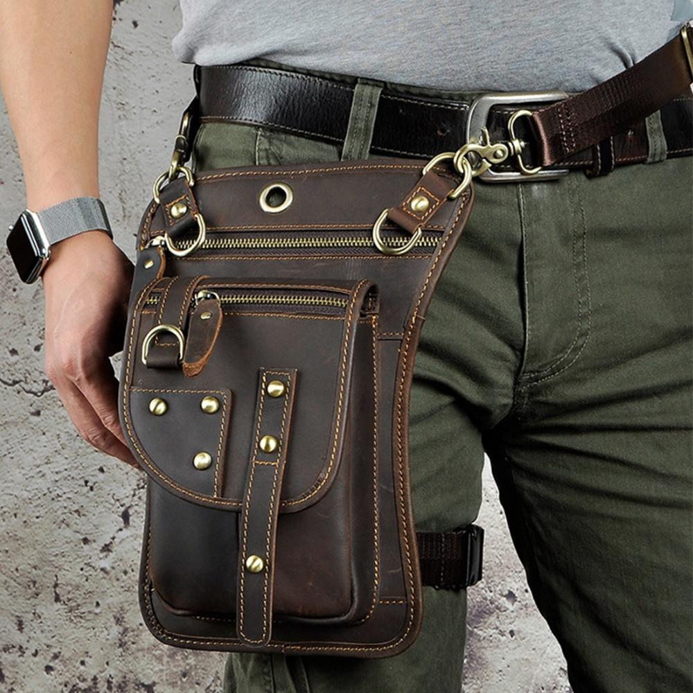 Men/'s Genuine Leather Belt Hook Fanny Waist Bag Messenger Shoulder Hip Bum Pack
