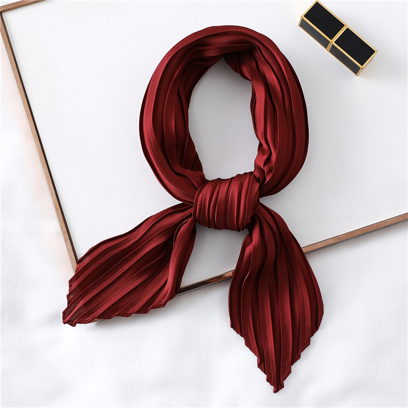 Fashion Women Silk Pleated Scarf Luxury Solid Neck Scarfs Foulard Femme Crinkle Hair Band Scarves Girl Neckerchief 2020 New
