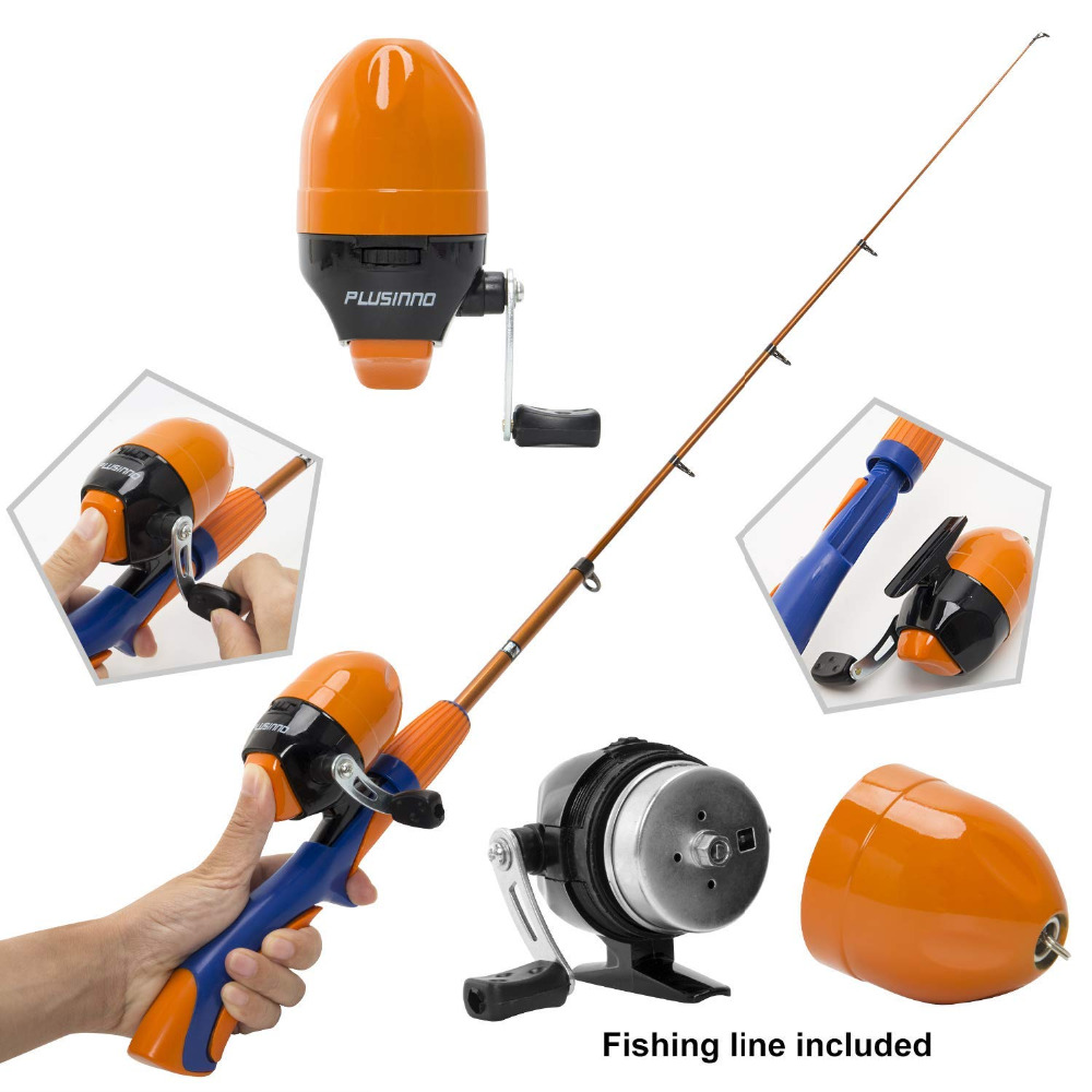 PLUSINNO Kids Fishing Pole,Portable Telescopic Fishing Rod and Reel Full Kits, Spincast Youth Fishing Pole Fishing Gear for Kids-in Fishing Rods from Sports & Entertainment    2
