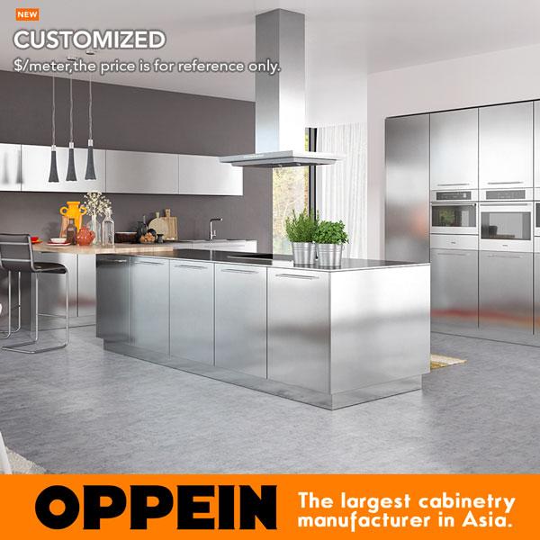 OPPEIN Hot Sale Modern Simple Design Stainless Steel Kitchen Cabinet