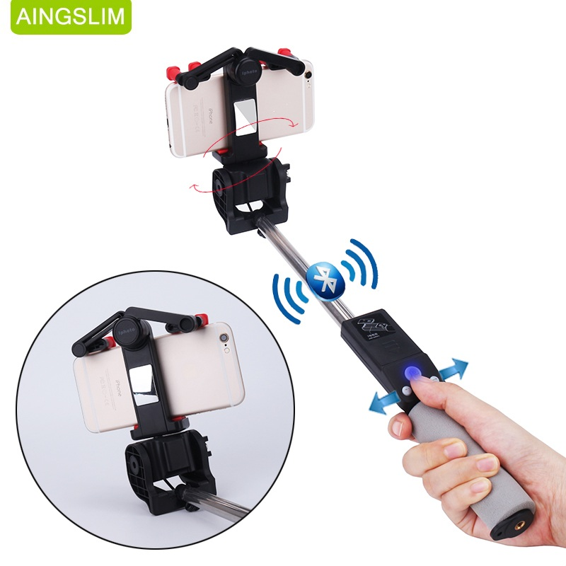 AINGSLIM Electric 360 Degree Rotation Wireless Bluetooth Selfie Stick Extendable Handheld Monopod for Xiaomi iPhones Huawei