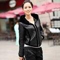 2016 Новых Натуральной Кожи куртка женщин овчины кожаное Пальто с рекс кролика с капюшоном зимние кожаные жилеты большой размер L55