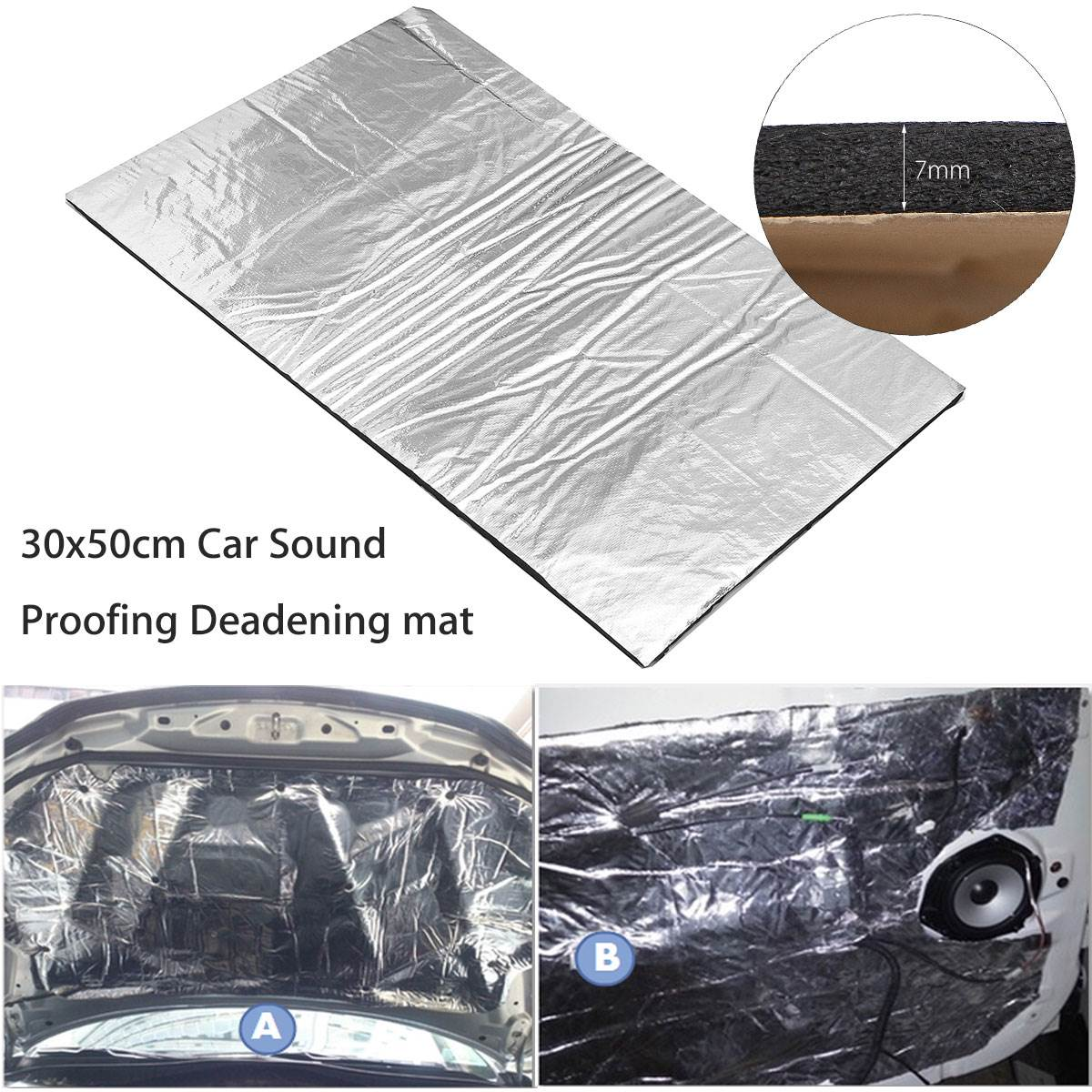 30x50cm car glass fibre sound insulation proofing deadening 7mm closed cell foam in sound heat. Black Bedroom Furniture Sets. Home Design Ideas
