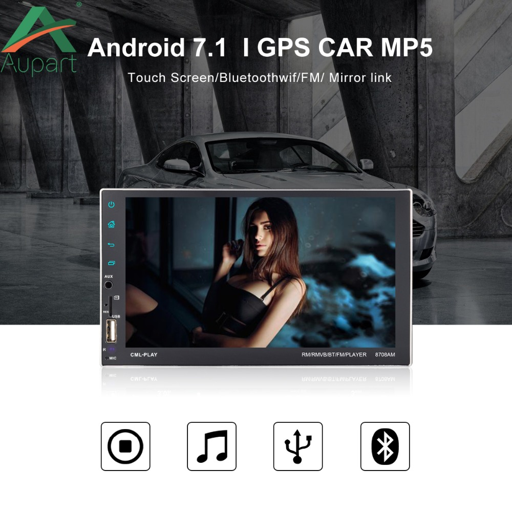 Touch Screen Car Audio Stereo 2 Din Car Radio Bluetooth Andriod Player GPS Wifi  Support Mirror Link  rearview camera