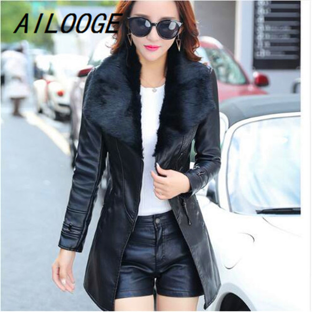 Fur Collar Women Long Leather Jacket Coat Female Winter Long Sleeve Suede Fur Jacket Women Bow Motorcycle Jacket