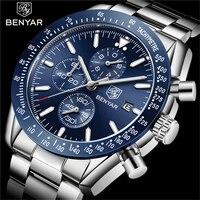 BENYAR Luxus Marke Männer edelstahl Quarz uhr timing wasserdicht military chronograph herren Quarz uhr relogio masculino