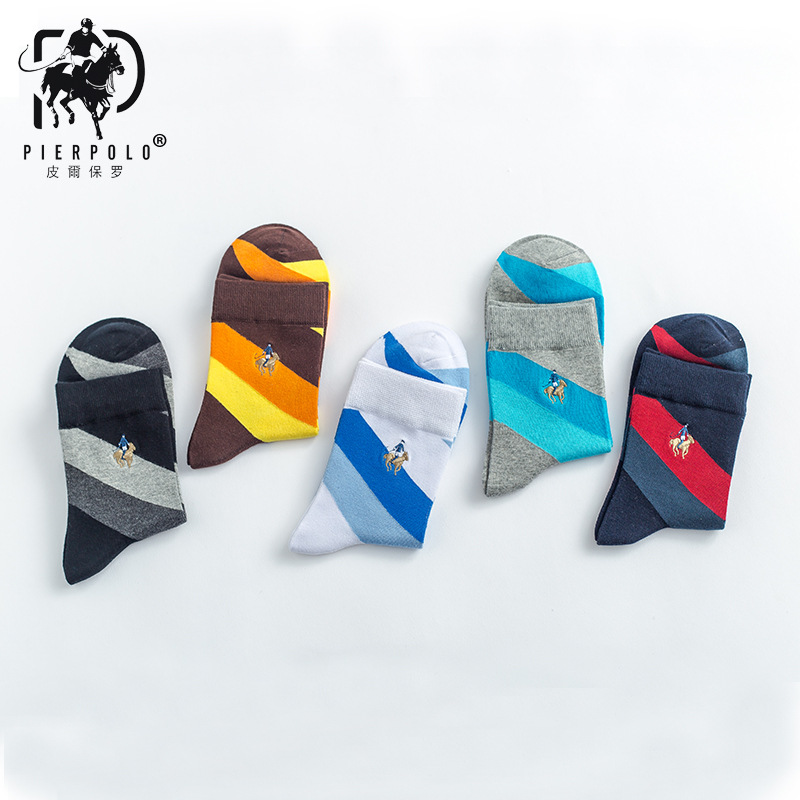 PIERPOLO New Design 5Pairs/lot High Quality Brand Socks Men Happy Socks Winter Warm Cotton Mens Socks Dress Embroidery Socks