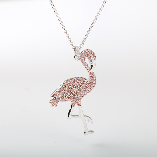 S925 pure silver pink flamingo silver necklace female clavicle chain necklace pendant for women ornaments
