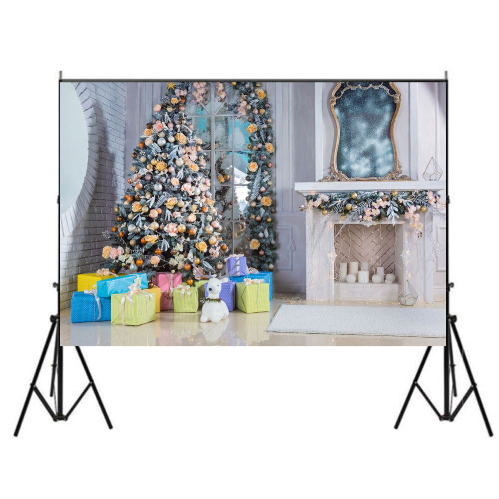 5x7FT Christmas Photographic Backdrops Elk Fireplace