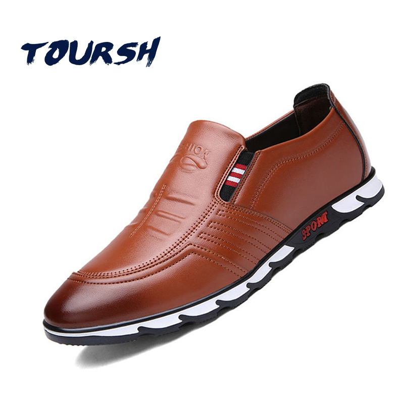 TOURSH New 2018 Summer Brand Casual Men Shoes Mens Flats Luxury Genuine Leather Shoes Man Breathable Oxford Big Size Leisure men luxury brand new genuine leather shoes fashion big size 39 47 male breathable soft driving loafer flats z768 tenis masculino