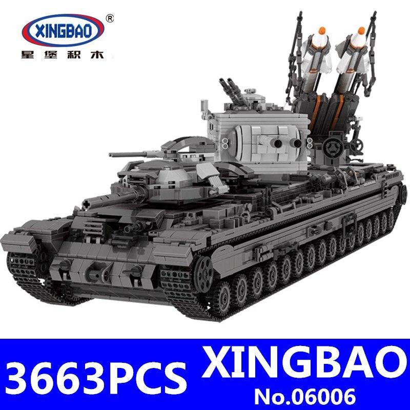 KV 2 Танк набор XingBao 06006 3663 шт. креативный Военный Набор для детей развивающие строительные блоки кирпичи игрушки для детей