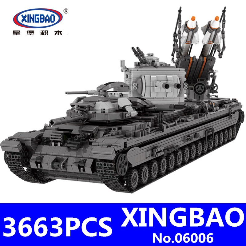 KV-2 Tank Set XingBao 06006 3663Pcs Creative MOC Military Series Children Educational Building Blocks Bricks Toys for Children 128pcs military field legion army tank educational bricks kids building blocks toys for boys children enlighten gift k2680 23030