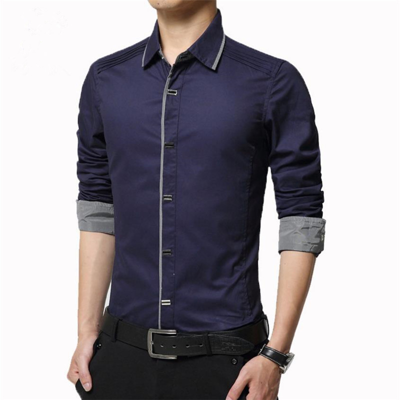 2018 Spring Autumn Cotton Dress Shirts High Quality Mens Casual Casual Men Slim Fit Social Shirts Plus Size image