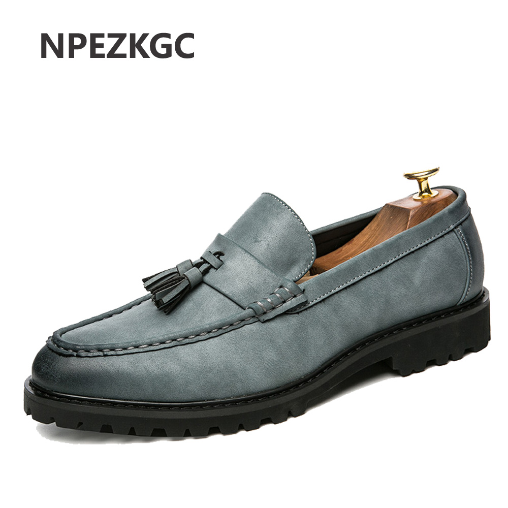 NPEZKGC Men Shoes Fashion Leather Doug Casual Flat Tassels Slip On Driver Dress Loafers Pointed Toe