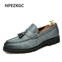 NPEZKGC Men Shoes Fashion Leather Doug Casual Flat Tassels Slip-On Driver Dress Loafers Pointed Toe Moccasin Wedding