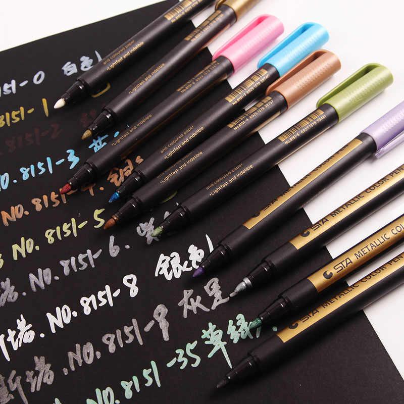 STA 10 couleurs métallisé Pastel bricolage marqueur stylo pour la conception de livre de papier noir, bureau école bricolage marqueur stylo Art marqueur pour la papeterie