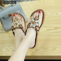 2018 New Bohemian Women Sandals Crystal Flat Heel Sandalias Women Shoes Thong Flip Flops Sapatos
