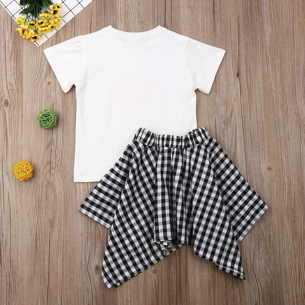 เด็กวัยหัดเดินชุดเด็กหญิงแขนสั้นรัก Dot เสื้อยืด Tops + กระโปรงลายสก๊อต 2 ชิ้นชุดเด็กเสื้อผ้าเด็ก 1-5 ปีวันเกิด