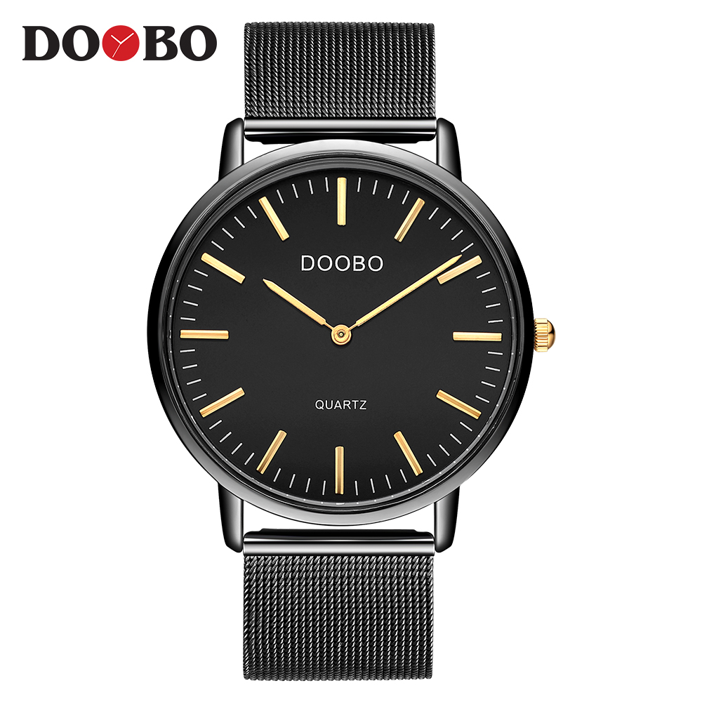 DOOBO Luxury Watches Men Blue Stainless Steel Ultra Thin Watches Men Classic Quartz Date Men's Wrist Watch Relogio Masculino ctpor luxury watches men black stainless steel ultra thin watches men classic quartz date men s wrist watch relogio masculino d