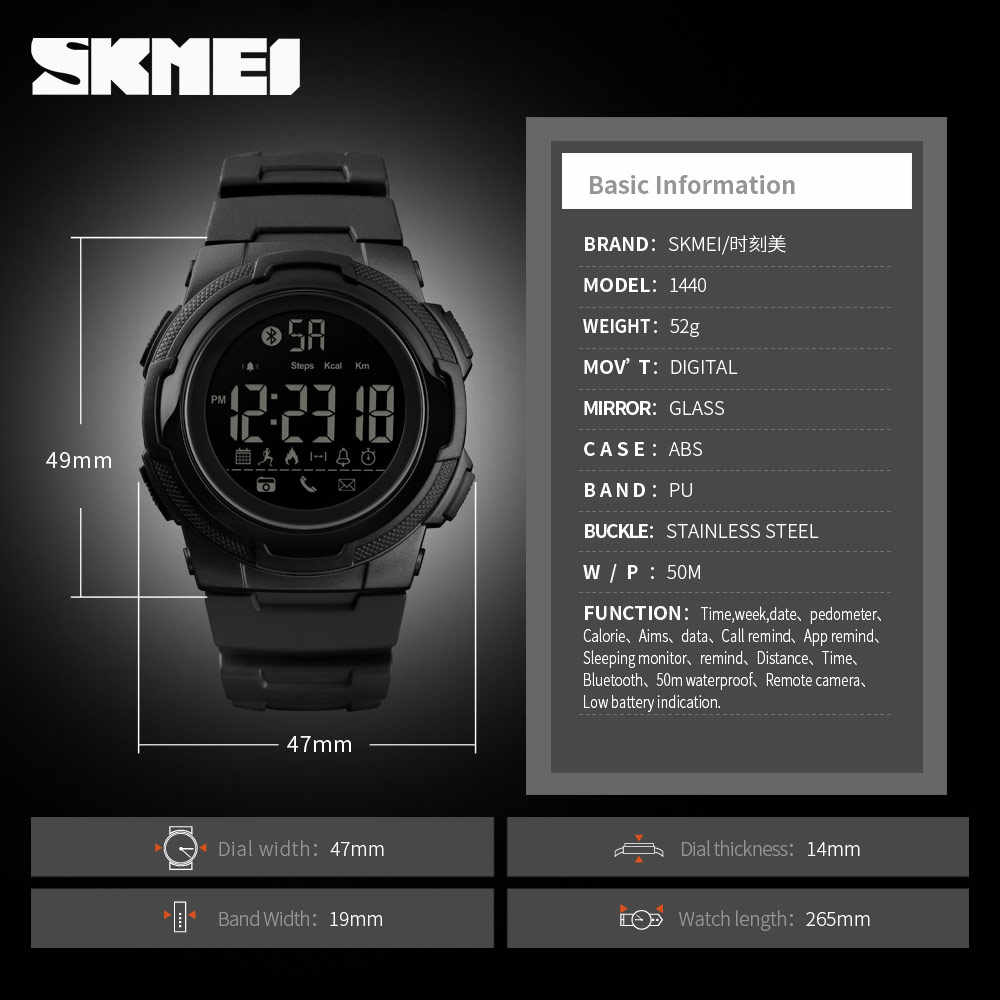 SKMEI Mens Bluetooth Smart Digital Clock Sports Watch Men Top Luxury Brand Waterproof Military Watchs Relogio Masculino 1440