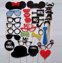 31Pcs set Photo Booth Props Moustache Funny Photography Moustache Props Wedding Birthday Party Fun Favor Wedding