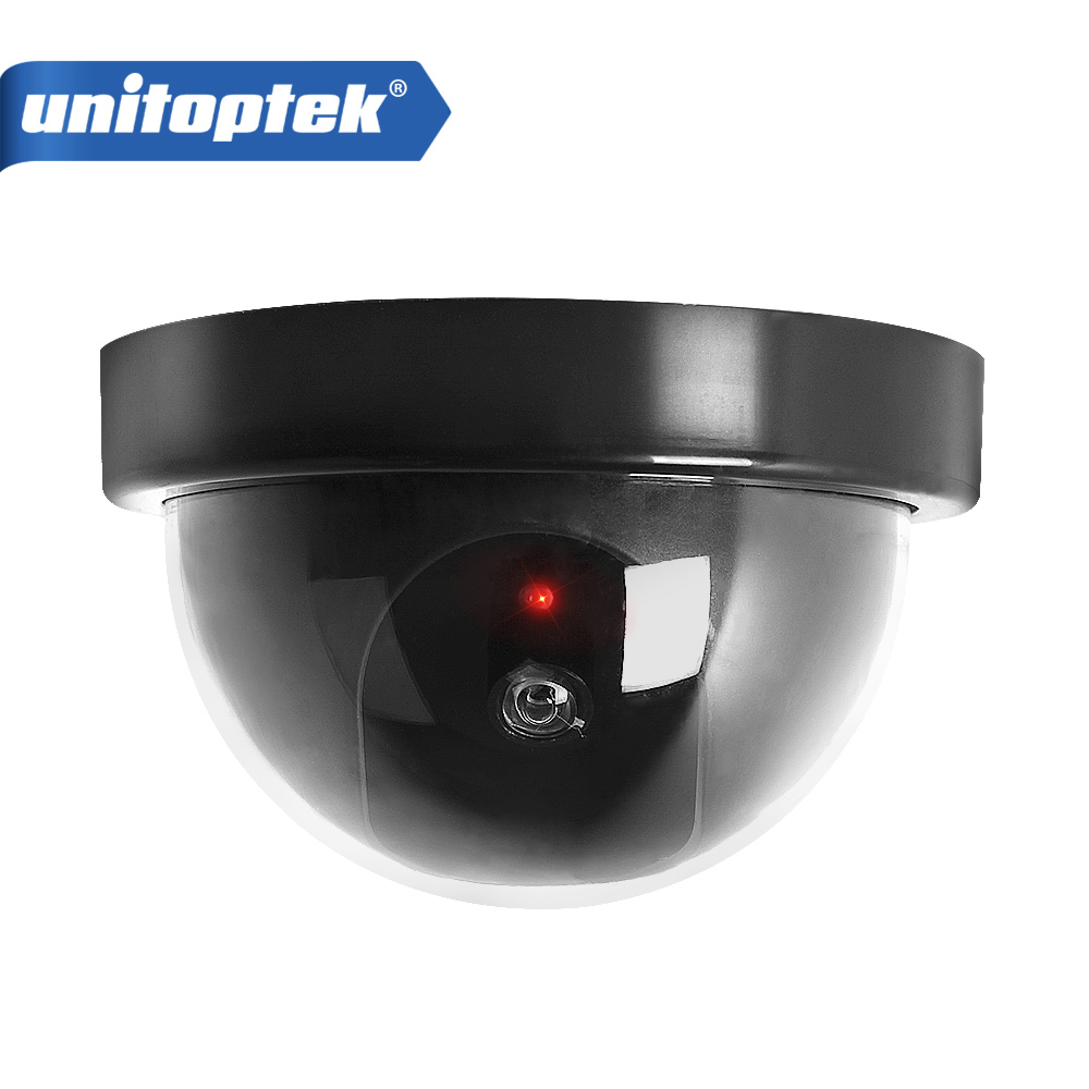 Outdoor Indoor Video Surveillance Dummy Dome Fake Camera with Flashing Red LED Light CCTV Security Accessories