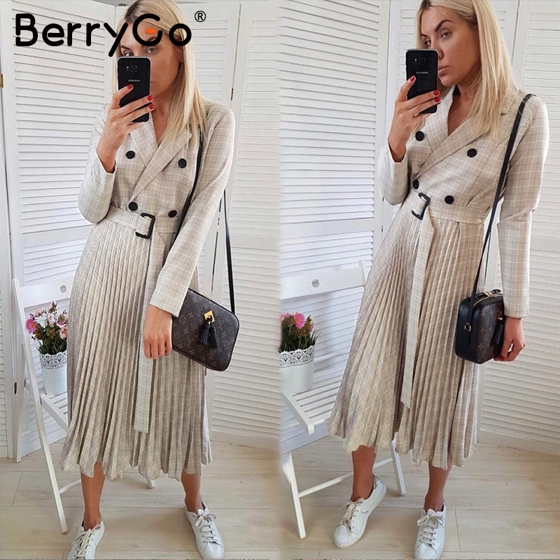 Image 2 - BerryGo Autumn winter women blazer dresses vestidos Pleated plaid  long dress elegant Office ladies high waist belt female robeDresses