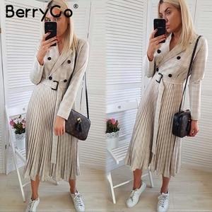 Image 2 - BerryGo Autumn winter women blazer dresses vestidos Pleated plaid long dress elegant Office ladies high waist belt female robe