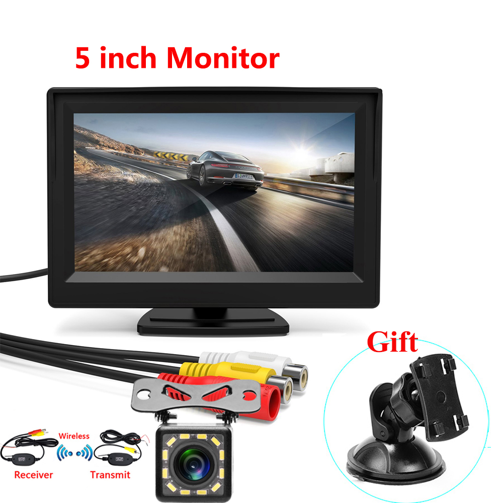5 Inch Car Reversing Camera Kit Back Up Car Monitor LCD Display HD Car Rear View Camera Parking System Transmitter Wireless