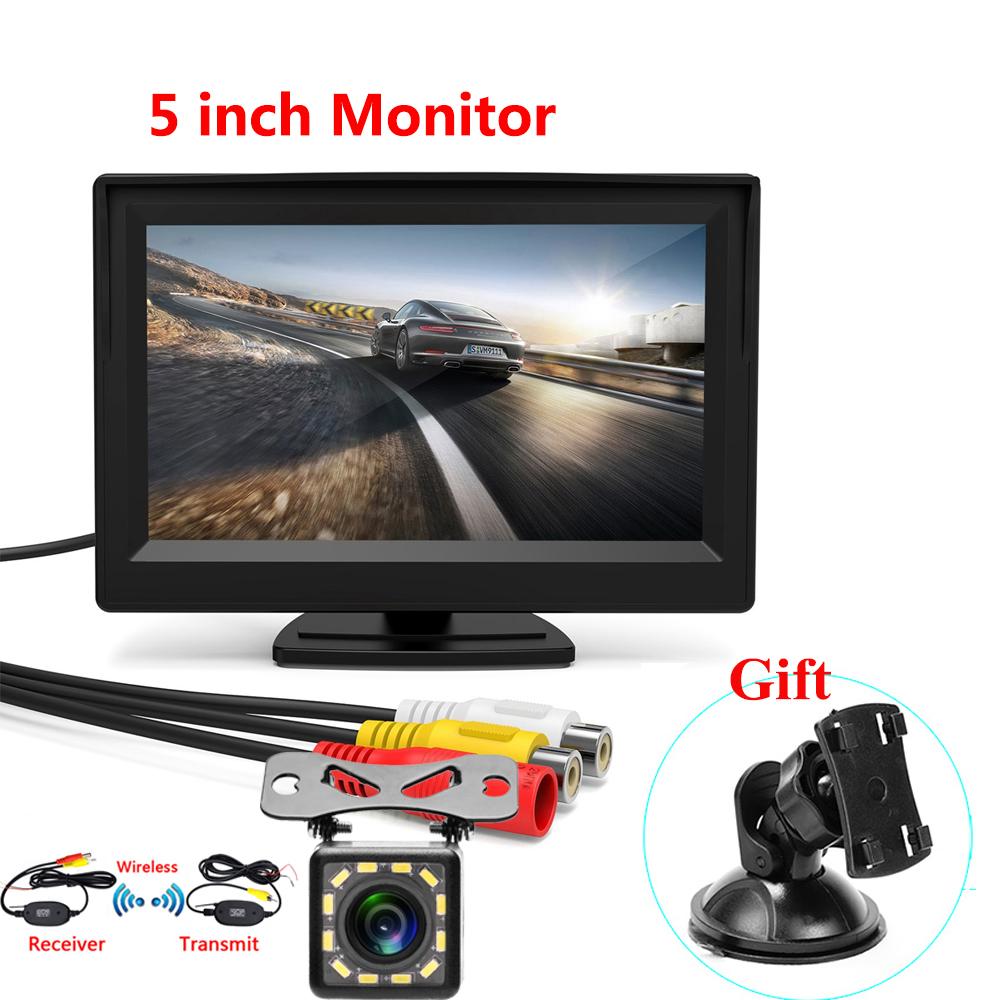 5 Inch Car Reversing Camera Kit Back Up Car Monitor LCD Display HD Car Rear View Camera Parking System transmitter wireless