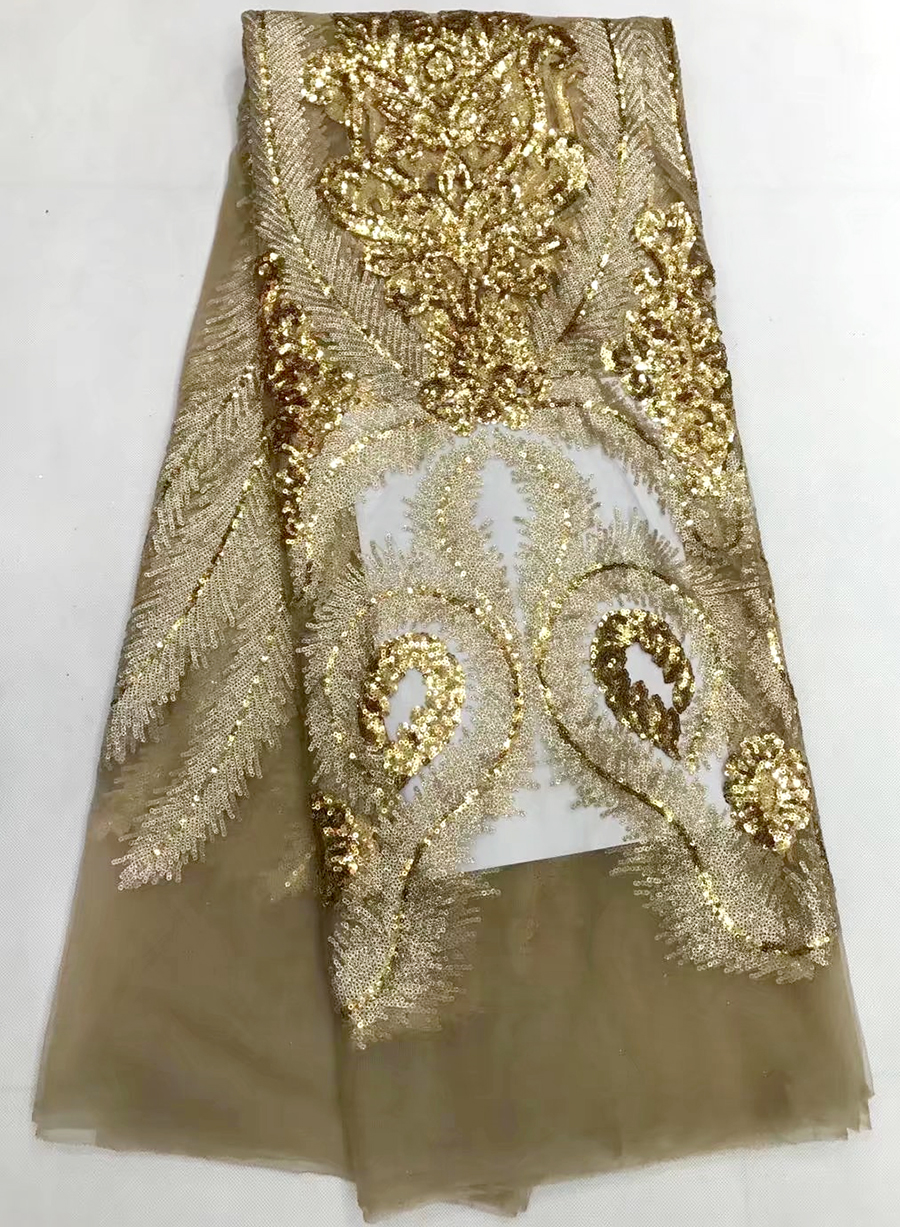 golden Special Offer French Net Lace Fabric With Sequins For Wedding High Quality African Tulle Lace Fabric Sequin Lace Fabric