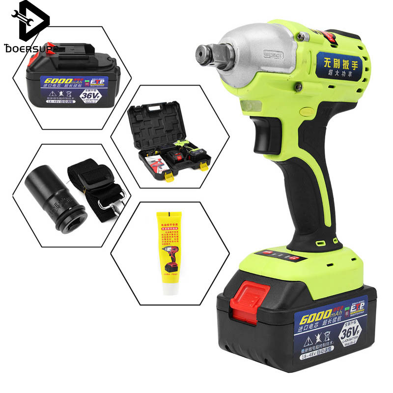 36V 1/2 inch Brushless Cordless Impact Wrench 6000mAh Lithium Battery Power Tool Kits + 2 Li ion Battery Hammerdrill with LED