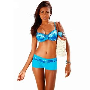Image 4 - Bikini 2020 Sexy Push Up Two Piece Swimsuits Plus Size Swimwear Women Brazilian Bathing Suit Shorts Sport Swimming Suit Tankini