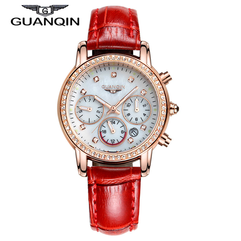 2015 New Fashion GUANQIN Womens Watches Female Quartz Watch With Leather Strap Calendar 6 Colors relogio feminina