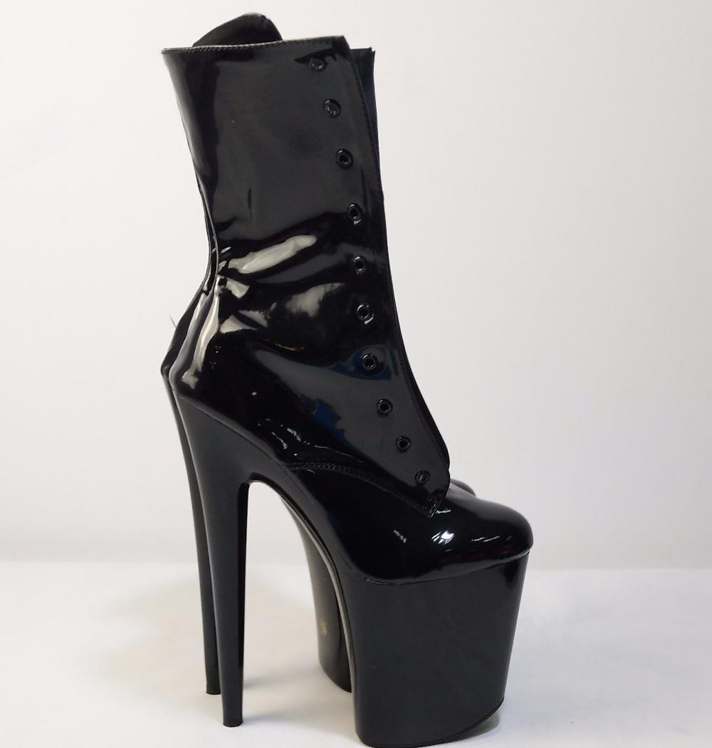 Mode sexy chevalier femme 8 pouces haut talon plate-forme bottines pour les femmes automne hiver chaussures 15-20cm noir pôle danse bottes - 2