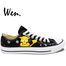 Wen Black Design Custom Hand Painted Shoes Pikachu Pokemon Pocket Monster Low Top Canvas Sneakers for Men Women's Gifts